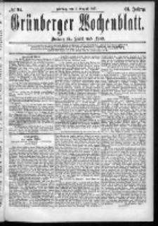 Grünberger Wochenblatt: Zeitung für Stadt und Land, No. 94. (7. August 1885)