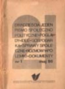 Dwadzieścia jeden: pismo społeczno-polityczne (poglądy, idee, gospodarka, sprawy społeczne, rozmowy, polemiki, dokumenty): nr 1 (maj 86)