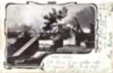 Gorzów Wlkp. / Landsberg a. W.; Brand der Warthenbrücke a.1. Juli 1905.