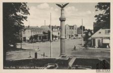 Witnica / Vietz (Ostbahn); Marktplatz mit Siegessäule