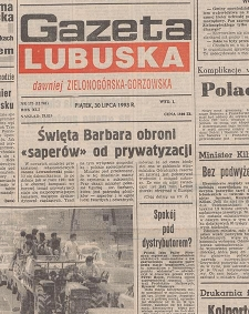 Gazeta Lubuska : dawniej Zielonogórska-Gorzowska R. XLI [właśc. XLII], nr 186 (12 sierpnia 1993). - Wyd 1