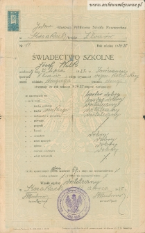 Józef Wilk - Świadectwo szkolne, Jednoklasowa Publiczna Szkoła Powszechna w Kozakach (powiat Złoczów)