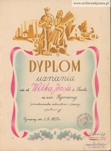 Józef Wilk - Dyplom uznania dla przodownika rolnictwa i pracy społecznej