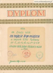 Dyplom dla Emilii Wilk