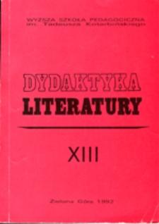 Dydaktyka Literatury, t. 13 - spis treści