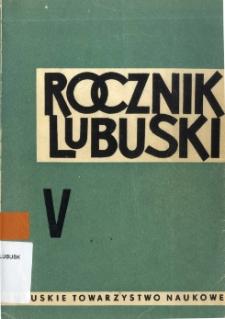 Rocznik Lubuski (t. 5) - spis treści