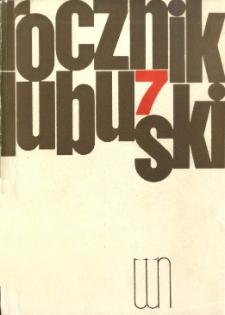 Rocznik Lubuski (t. 7) - spis treści