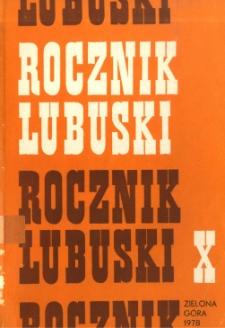 Rocznik Lubuski (t. 10) - spis treści