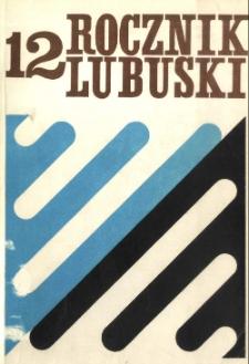 Rocznik Lubuski (t. 12) - spis treści