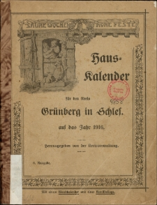 Hauskalender für den Kreis Grünberg in Schles. auf das Jahr 1916