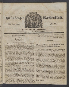 Grünberger Wochenblatt, No. 98. (8. Dezember 1856)