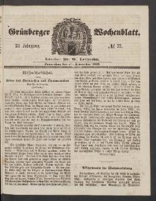 Grünberger Wochenblatt, No. 77. (24. September 1857)