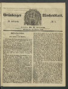 Grünberger Wochenblatt, No. 5. (16. Januar 1860)