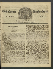 Grünberger Wochenblatt, No. 15. (20. Februar 1860)