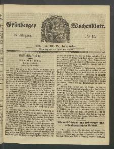 Grünberger Wochenblatt, No. 17. (27. Februar 1860)