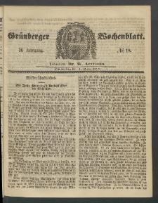 Grünberger Wochenblatt, No. 18. (1. März 1860)