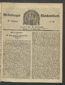 Grünberger Wochenblatt, No. 19. (5. März 1860)