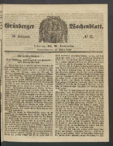 Grünberger Wochenblatt, No. 22. (15. März 1860)