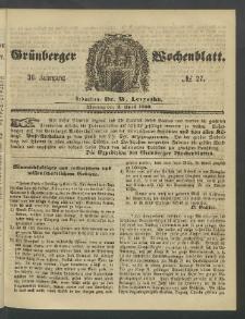 Grünberger Wochenblatt, No. 27. (2. April 1860)