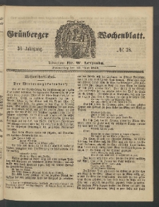 Grünberger Wochenblatt, No. 38. (10. Mai 1860)