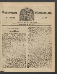 Grünberger Wochenblatt, No. 57. (16. Juli 1860)