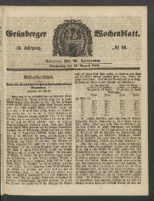 Grünberger Wochenblatt, No. 68. (23. August 1860)