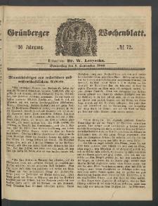 Grünberger Wochenblatt, No. 72. (6. September 1860)