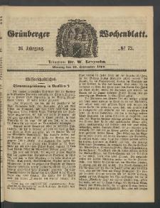 Grünberger Wochenblatt, No. 73. (10. September 1860)