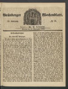 Grünberger Wochenblatt, No. 75. (17. September 1860)