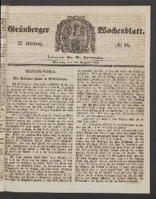 Grünberger Wochenblatt, No. 66. (19. August 1861)