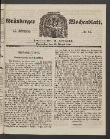 Grünberger Wochenblatt, No. 67. (22. August 1861)