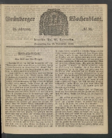 Grünberger Wochenblatt, No. 91. (13. November 1862)