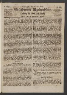 Grünberger Wochenblatt: Zeitung für Stadt und Land, No. 99. (13. December 1863)