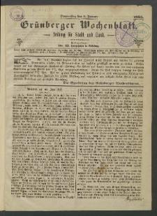 Grünberger Wochenblatt: Zeitung für Stadt und Land, No. 1. (5. Januar 1865)