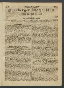 Grünberger Wochenblatt: Zeitung für Stadt und Land, No. 3. (12. Januar 1865)