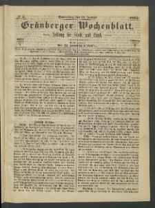 Grünberger Wochenblatt: Zeitung für Stadt und Land, No. 5. (19. Januar 1865)