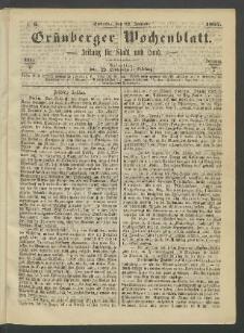 Grünberger Wochenblatt: Zeitung für Stadt und Land, No. 6. (22. Januar 1865)