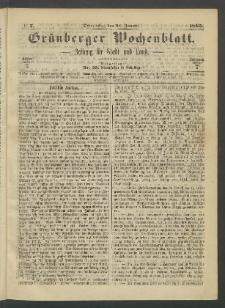 Grünberger Wochenblatt: Zeitung für Stadt und Land, No. 7. (26. Januar 1865)