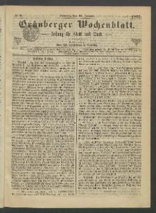 Grünberger Wochenblatt: Zeitung für Stadt und Land, No. 8. (29. Januar 1865)