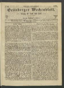 Grünberger Wochenblatt: Zeitung für Stadt und Land, No. 11. (9. Februar 1865)