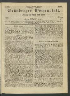 Grünberger Wochenblatt: Zeitung für Stadt und Land, No. 12. (12. Februar 1865)