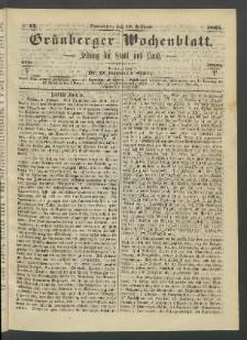 Grünberger Wochenblatt: Zeitung für Stadt und Land, No. 13. (16. Februar 1865)