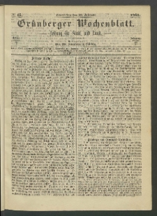 Grünberger Wochenblatt: Zeitung für Stadt und Land, No. 15. (23. Februar 1865)