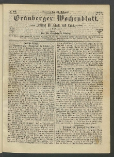 Grünberger Wochenblatt: Zeitung für Stadt und Land, No. 16. (26. Februar 1865)