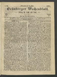 Grünberger Wochenblatt: Zeitung für Stadt und Land, No. 21. (16. März 1865)