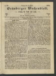 Grünberger Wochenblatt: Zeitung für Stadt und Land, No. 22. (19. März 1865)