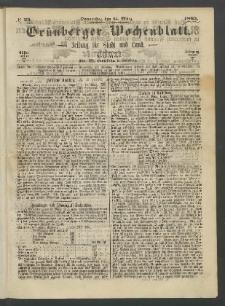 Grünberger Wochenblatt: Zeitung für Stadt und Land, No. 23. (23. März 1865)