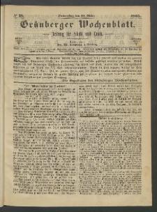 Grünberger Wochenblatt: Zeitung für Stadt und Land, No. 25. (30. März 1865)