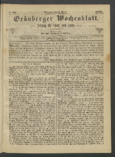 Grünberger Wochenblatt: Zeitung für Stadt und Land, No. 26. (2. April 1865)