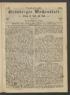 Grünberger Wochenblatt: Zeitung für Stadt und Land, No. 27. (6. April 1865)